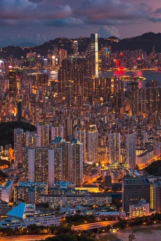 Beautiful City Night Hong Kong China Buildings Lights