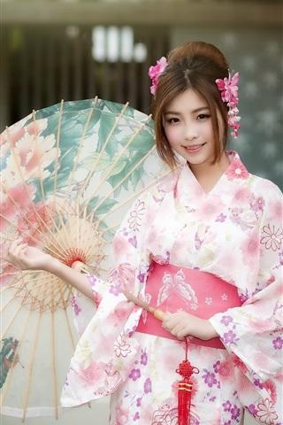 iPhone Wallpaper Beautiful japanese girl, kimono, umbrella