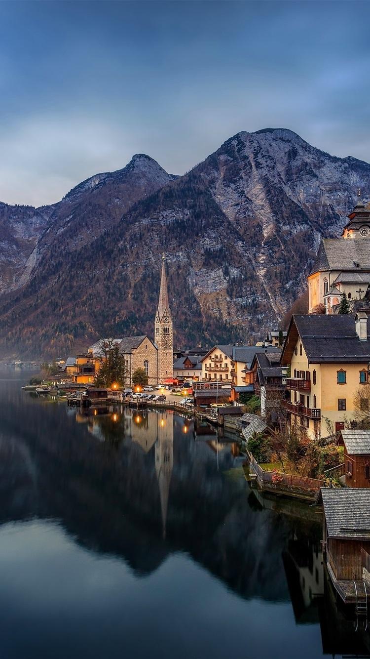 Обои австрия, дома, альпы, гальштат, hallstatt, austria. Города foto 13