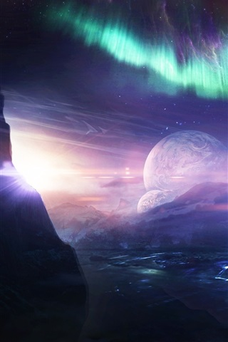 iPhone Wallpaper Desktopography, creative pictures, planet, ship, northern lights, water