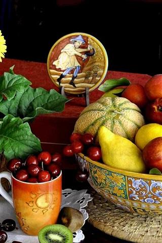 iPhone Wallpaper Flowers, fruit still life, cherries, melon, kiwi, pear, peach