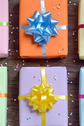 iPhone Wallpaper Gift boxes, wooden, colorful bows