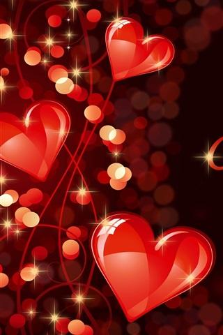 iPhone Wallpaper Happy Valentine's Day, romantic, love, hearts