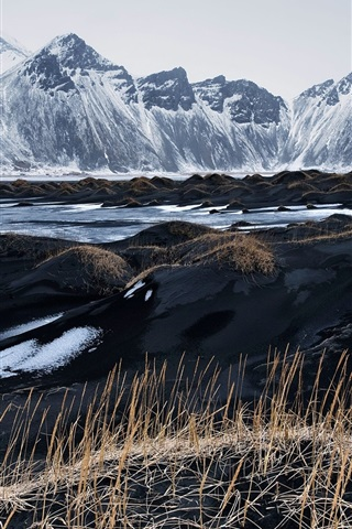 iPhone Wallpaper Iceland, Vestrahorn, black sand, grass, mountains, sky