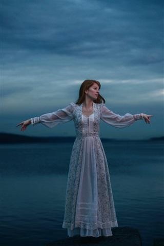 iPhone Wallpaper Lonely girl, lake, white dress, night