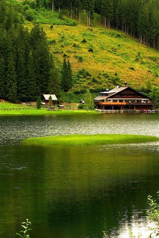 iPhone Wallpaper Nature scenery, mountains, trees, river, house, green