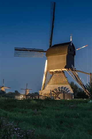 iPhone Wallpaper Netherlands, windmill, night, road, lights