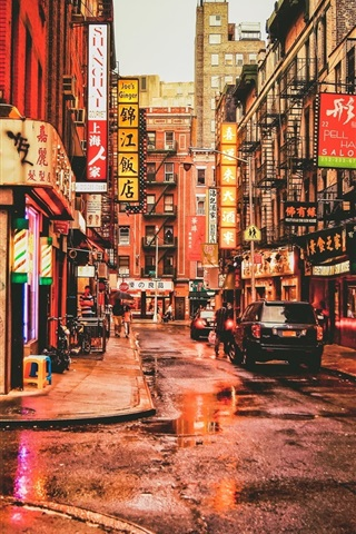 iPhone Wallpaper New York, Chinatown, USA, street, restaurants, cars, people