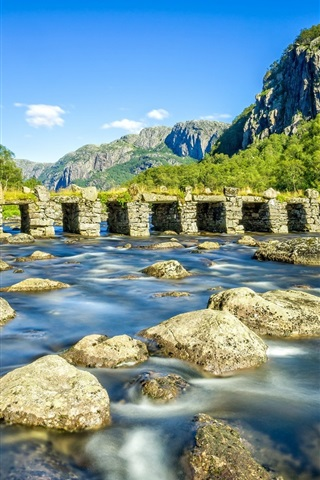 iPhone Wallpaper Rogaland, Norway, river, stone bridge, rocks, mountains, trees