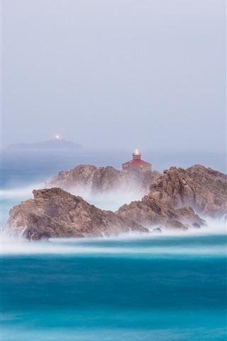 iPhone Wallpaper Sea, rocks, lighthouses, fog