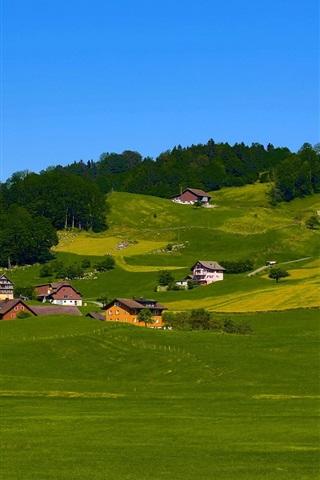 iPhone Wallpaper Sky, hills, field, grass, trees, houses