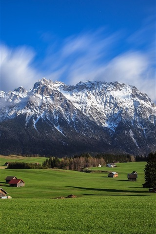 iPhone Wallpaper Sky, mountains, Alps, valley, houses, trees, grass