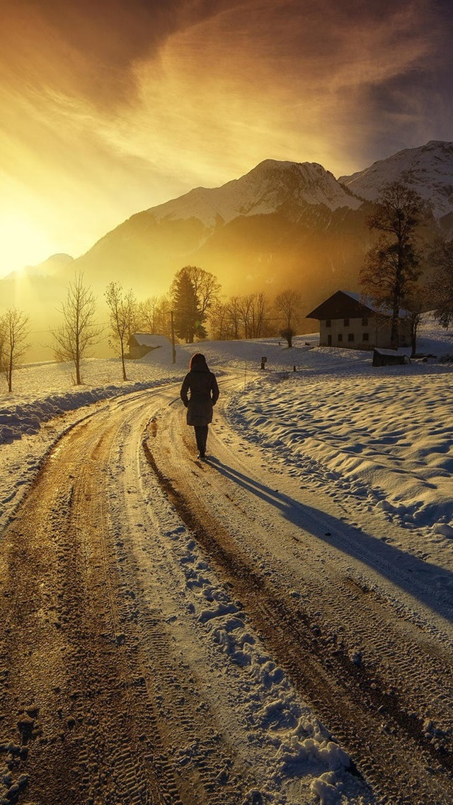 Sunrise Mountains Houses Road Girl Winter Thick Snow