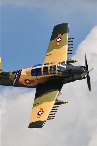 iPhone Wallpaper A-1E Skyraider fighter, attack, sky