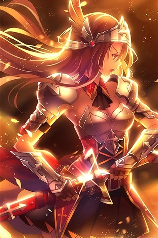 iPhone Wallpaper Anime girl, golden warrior, sword, weapons, armor