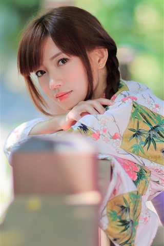 iPhone Wallpaper Beautiful Japanese girl, kimono, summer