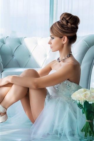 iPhone Wallpaper Beautiful ballerina, white dress girl, flowers