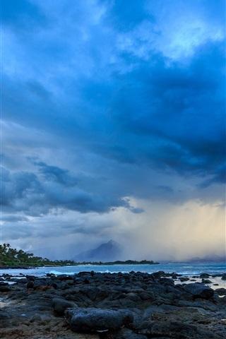 iPhone Wallpaper Hawaii, coast, clouds, storm, palm trees, stones, dusk