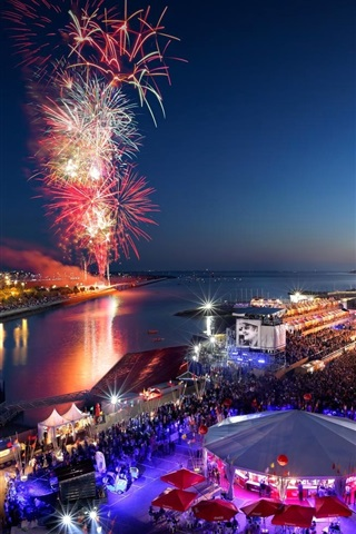 iPhone Wallpaper Independence day, La Rochelle, Poitou-Charentes, France, fireworks, beautiful night