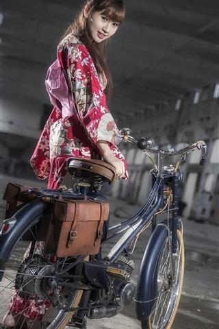 iPhone Wallpaper Japanese girl, bike, kimono, night