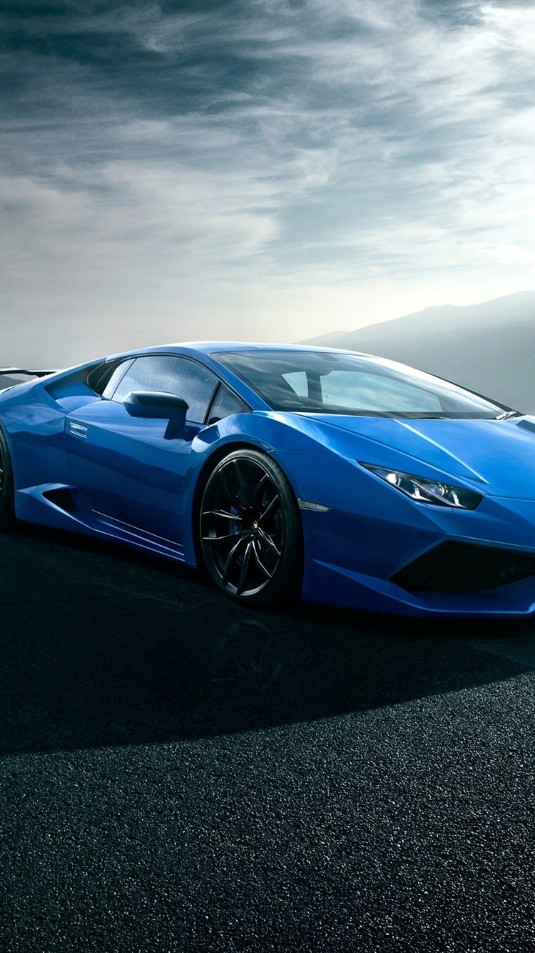 Lamborghini Huracan Blue Luxury Supercar Road Clouds 750x1334