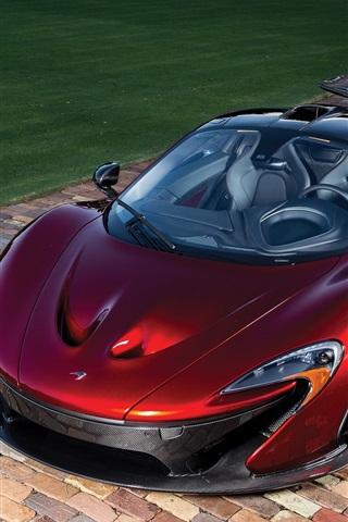 iPhone Wallpaper McLaren P1 red supercar top view