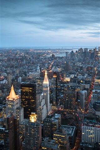 iPhone Wallpaper New York City, Manhattan, USA, skyscrapers, buildings, bay, dusk