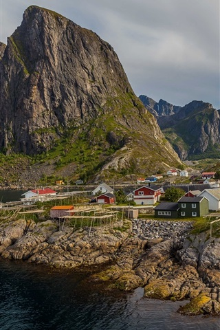 iPhone Wallpaper Norway, mountains, sea, town, bay, houses