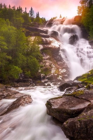 iPhone Wallpaper Norway, waterfall, river, trees, sunset