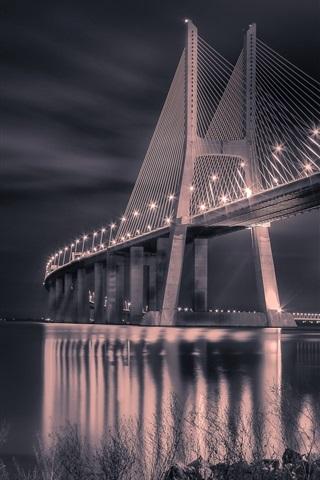 iPhone Wallpaper Portugal, bridge, night, lights