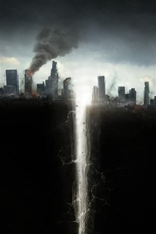 iPhone Wallpaper San Andreas, 2015 movie, catastrophe, crack
