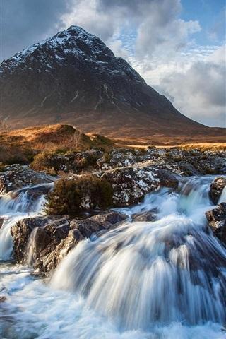 iPhone Wallpaper Sunset, sky, clouds, mountain, stream, rocks, autumn
