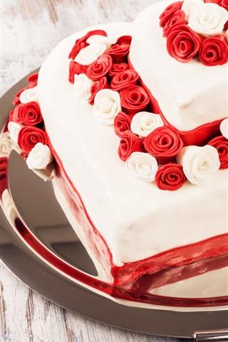 iPhone Wallpaper Sweet cake, dessert, roses, love hearts
