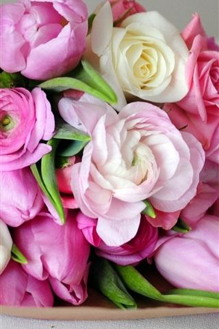 ホワイトピンクの花 ピンクのチューリップローズ 640x1136 Iphone 5