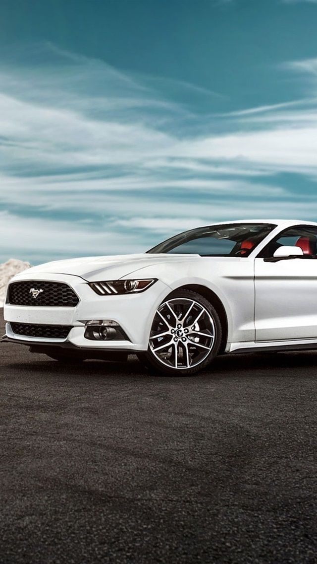 2015 Ford Mustang Gt White Car 640x1136 Iphone 5 5s 5c Se Wallpaper Background Picture Image