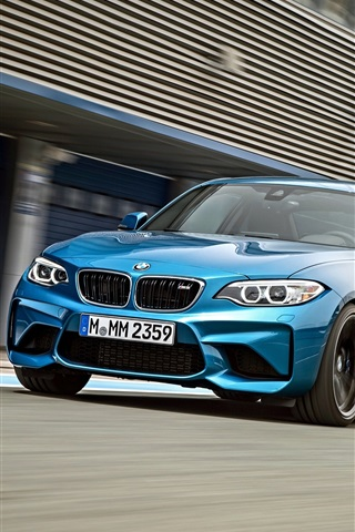 iPhone Wallpaper BMW M2 F87 blue car speed