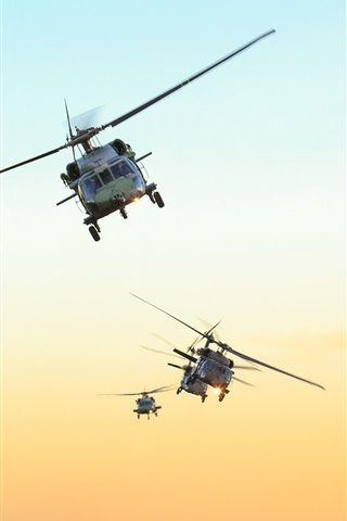 iPhone Wallpaper Black Hawk helicopter, Brazil air force, sky, sunset