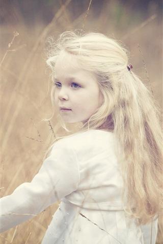 iPhone Wallpaper Cute little girl, blonde, wind, grass