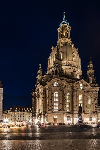 iPhone Wallpaper Dresden, Germany, city night, lights, square, buildings