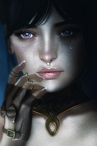 iPhone Wallpaper Fantasy girl, face, tears, sadness