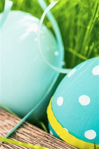 iPhone Wallpaper Happy Easter, blue color eggs, grass, spring
