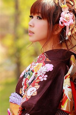 iPhone Wallpaper Japanese girl, Asian, kimono clothes