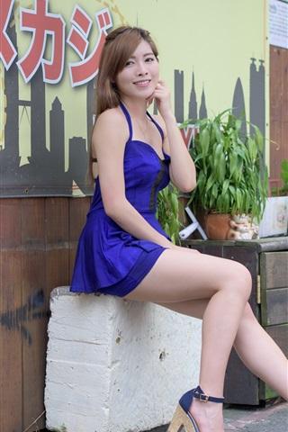 iPhone Wallpaper Japanese girl, blue dress, smile, legs