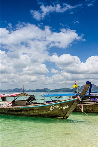 iPhone Wallpaper Krabi, Thailand, ocean, coast, boats, summer, clouds