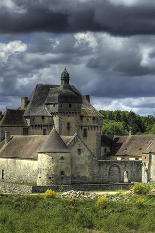 iPhone Wallpaper La Sauniere, France, castle, clouds, river, trees