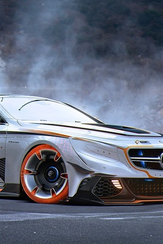 iPhone Wallpaper Mercedes-Benz S63 AMG silver car side view