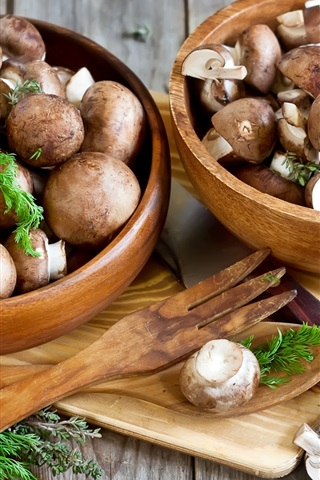 iPhone Wallpaper Mushrooms, bowls, knife, food