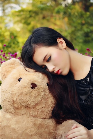 iPhone Wallpaper Sadness Asian girl and teddy bear