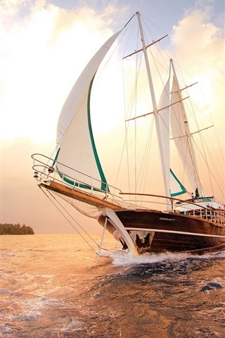 iPhone Wallpaper Sea, ship, sailboat, water, sunset, clouds