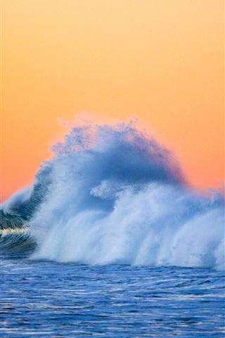 iPhone Wallpaper Sea, waves, splashes, dusk